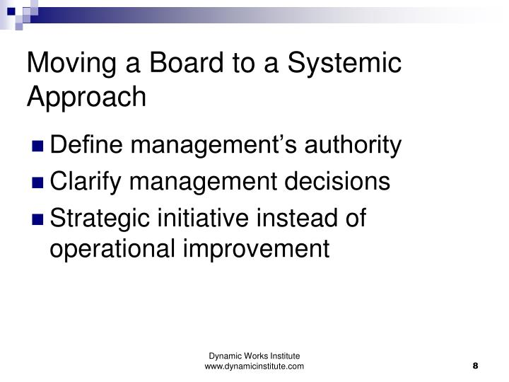 Moving a Board to a Systemic Approach