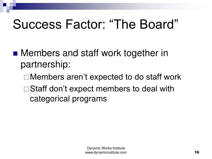 "Success Factor: ""The Board"""