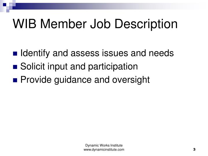 WIB Member Job Description