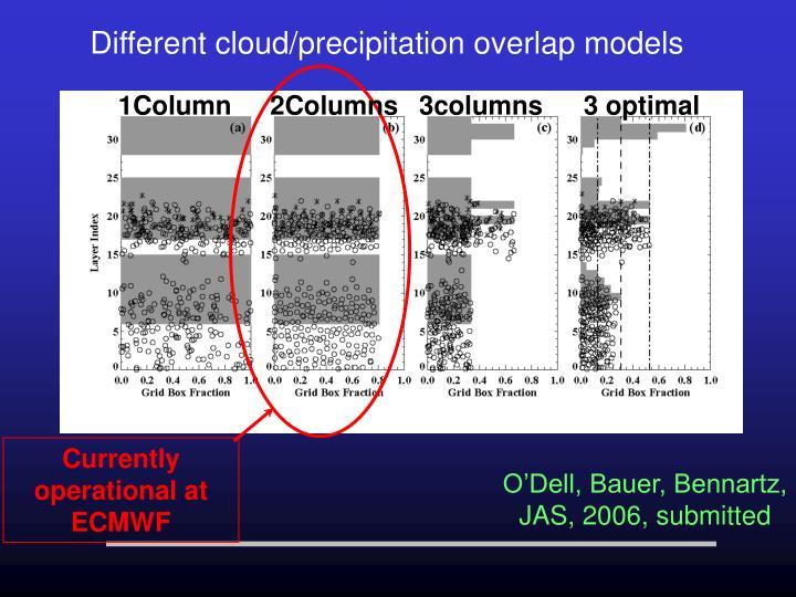 Different cloud/precipitation overlap models