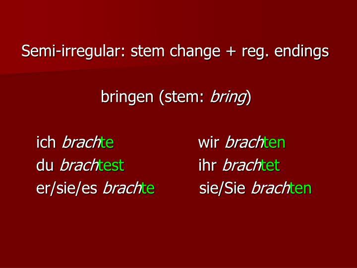 Semi-irregular: stem change + reg. endings
