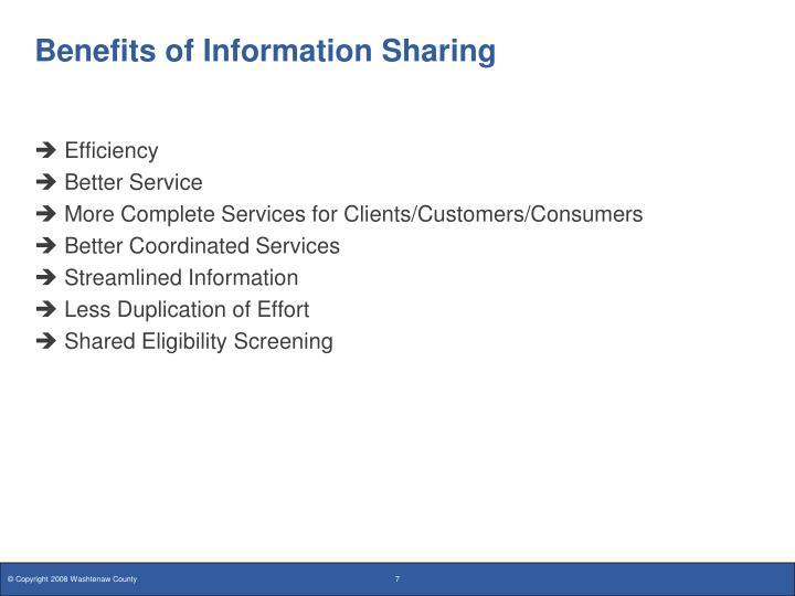 Benefits of Information Sharing