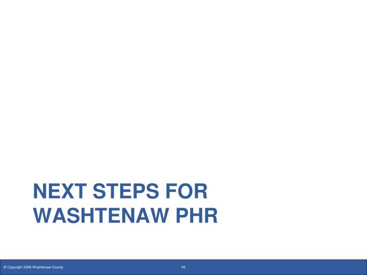 Next steps for Washtenaw PHR