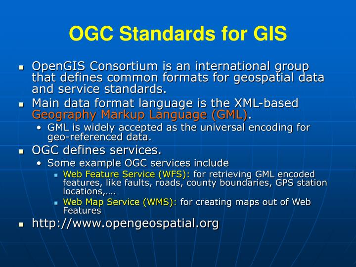 Ogc standards for gis