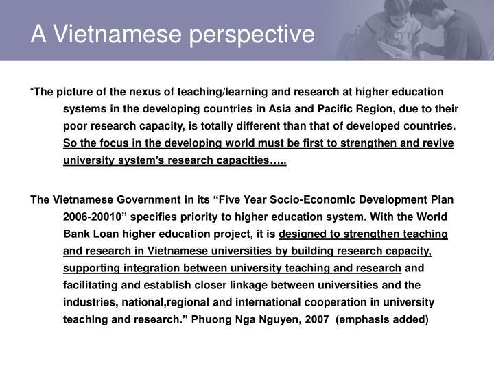 A Vietnamese perspective