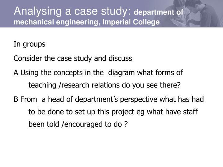 Analysing a case study: