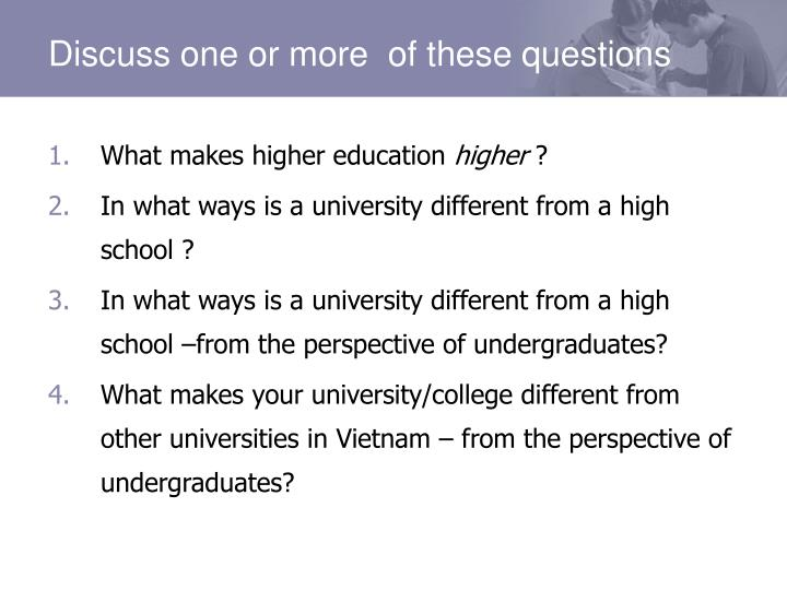 Discuss one or more  of these questions