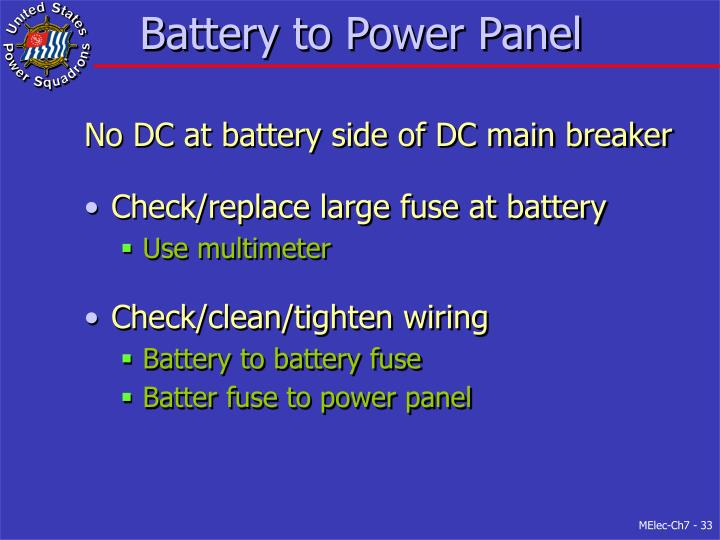 Battery to Power Panel
