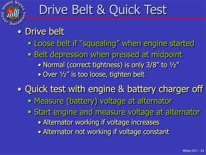 Drive Belt & Quick Test
