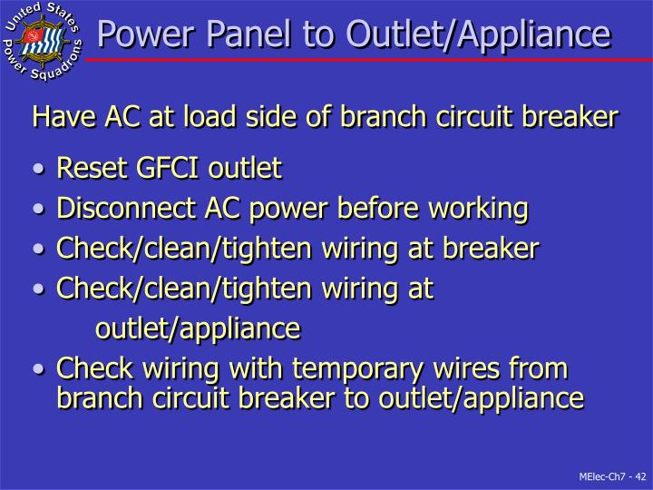 Power Panel to Outlet/Appliance
