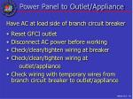 power panel to outlet appliance