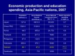 economic production and education spending asia pacific nations 2007