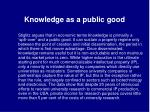 knowledge as a public good