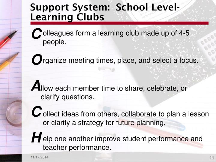 Support System:  School Level-Learning Clubs