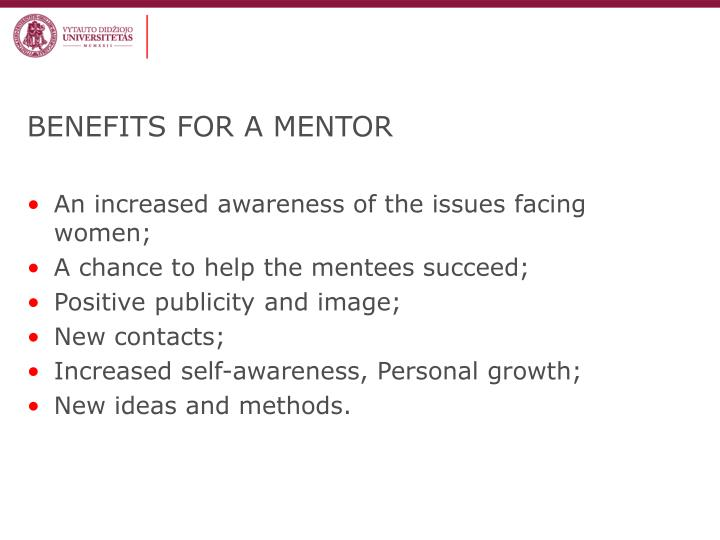 BENEFITS FOR A MENTOR