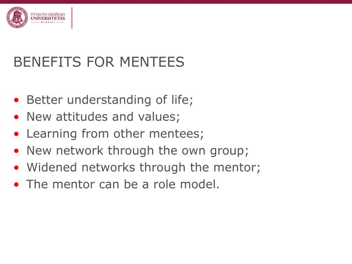 BENEFITS FOR MENTEES