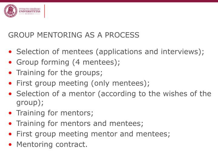 GROUP MENTORING AS A PROCESS