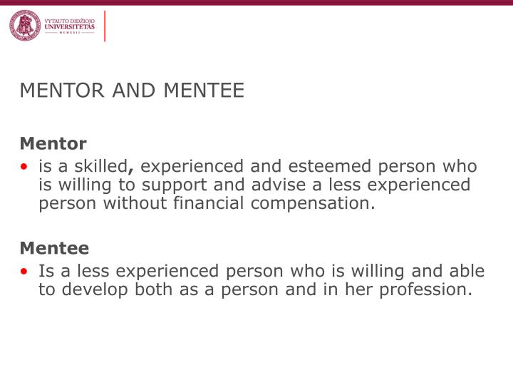 MENTOR AND MENTEE