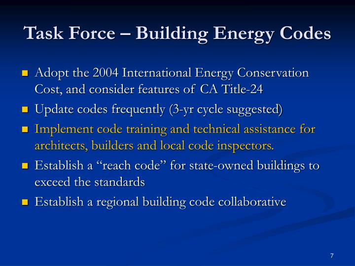 Task Force – Building Energy Codes
