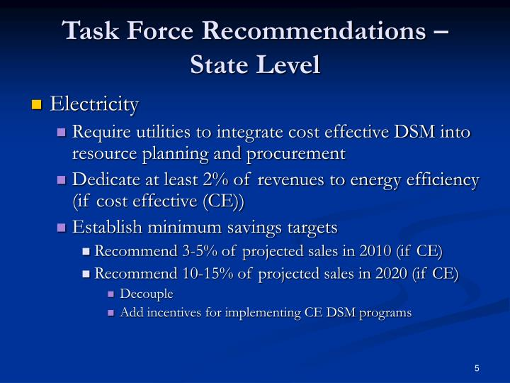 Task Force Recommendations – State Level