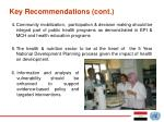 key recommendations cont