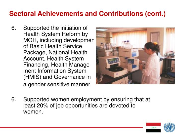Sectoral Achievements and Contributions (cont.)