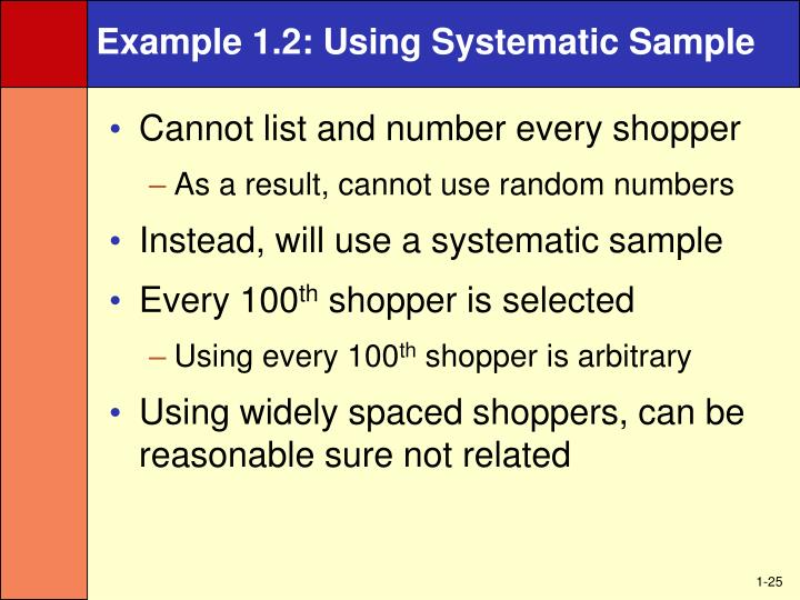 Example 1.2: Using Systematic Sample