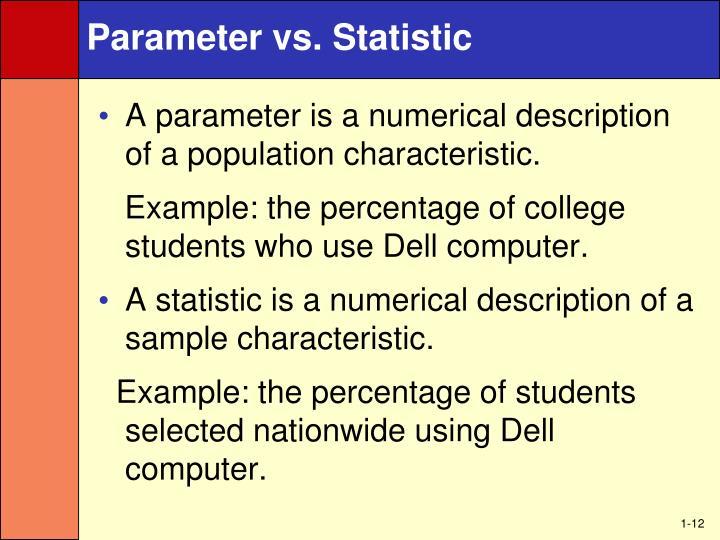 Parameter vs. Statistic