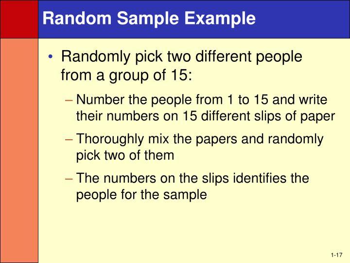 Random Sample Example