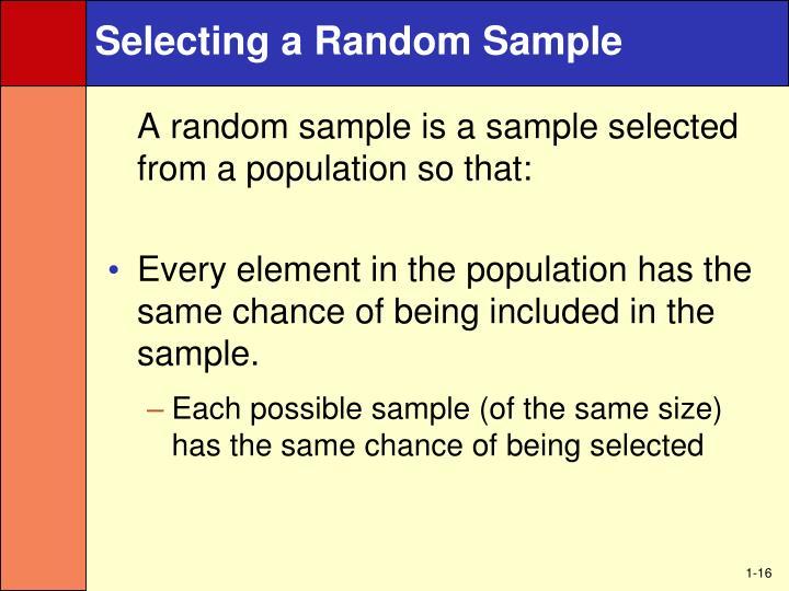 Selecting a Random Sample