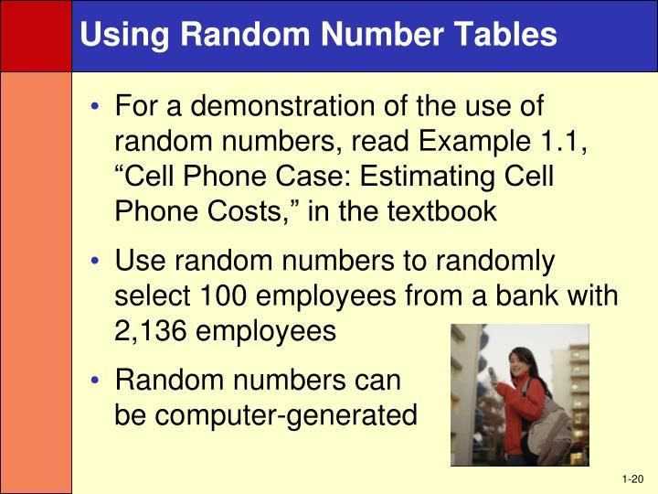 Using Random Number Tables