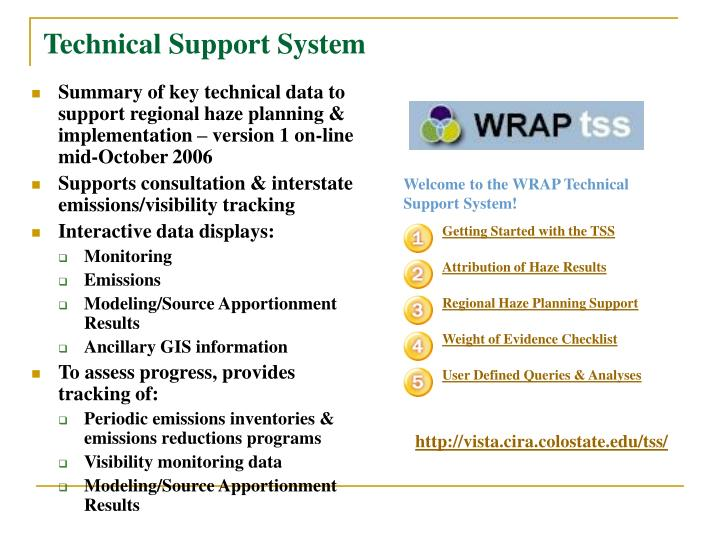 Summary of key technical data to support regional haze planning & implementation – version 1 on-line mid-October 2006