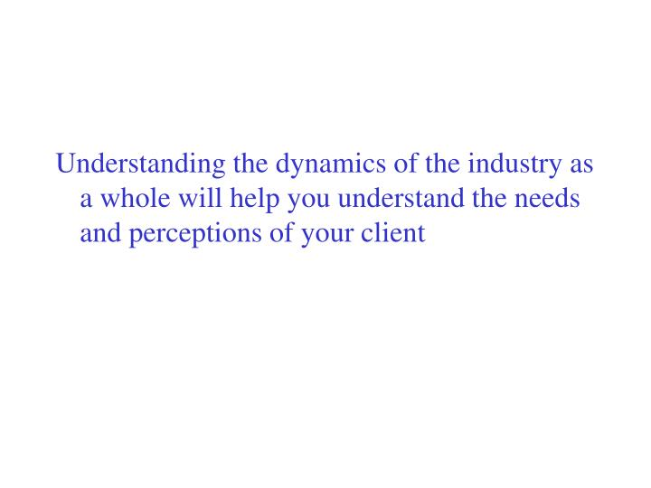 Understanding the dynamics of the industry as a whole will help you understand the needs and perceptions of your client