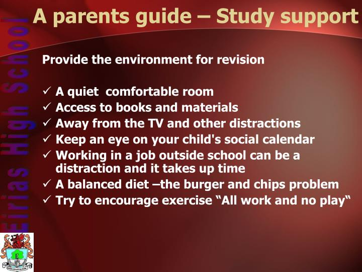 A parents guide – Study support