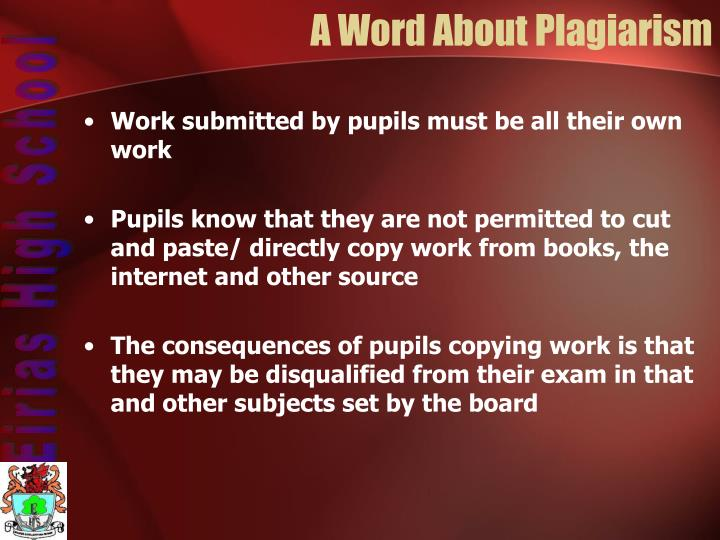A Word About Plagiarism