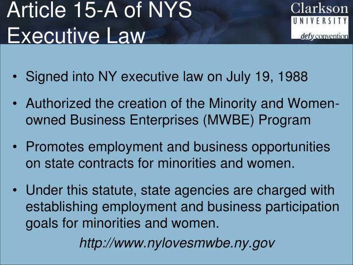 Article 15-A of NYS