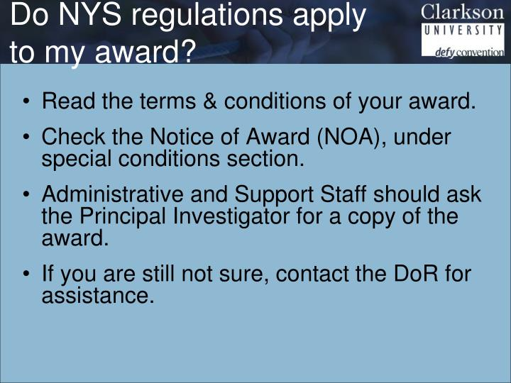 Do NYS regulations apply