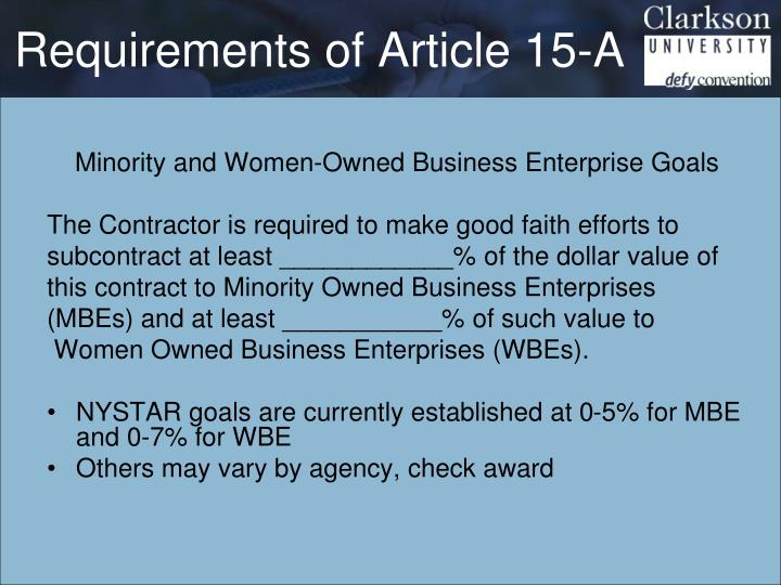 Requirements of Article 15-A
