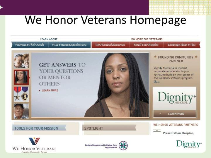 We Honor Veterans Homepage