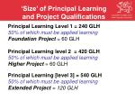 size of principal learning and project qualifications