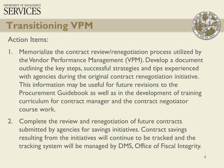Transitioning VPM