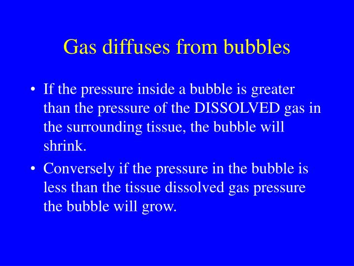 Gas diffuses from bubbles
