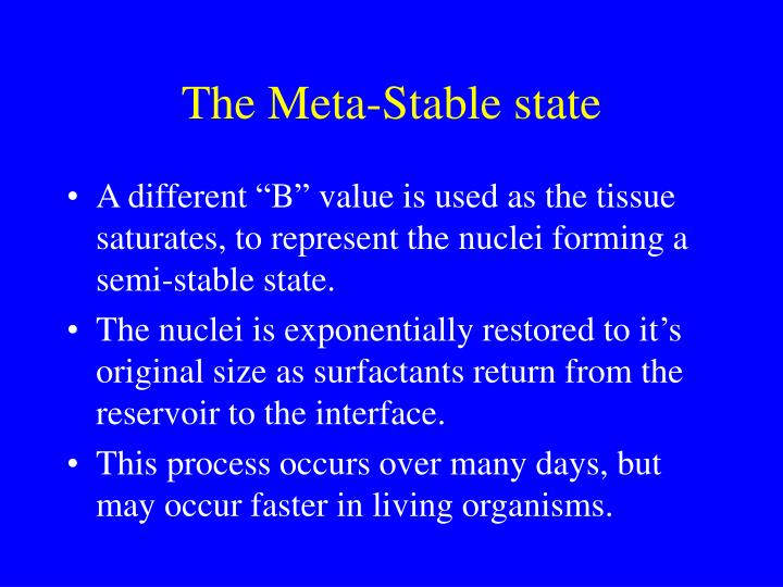 The Meta-Stable state