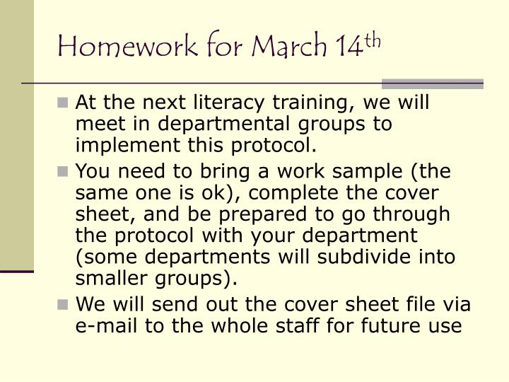 Homework for March 14