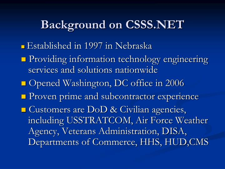 Background on csss net