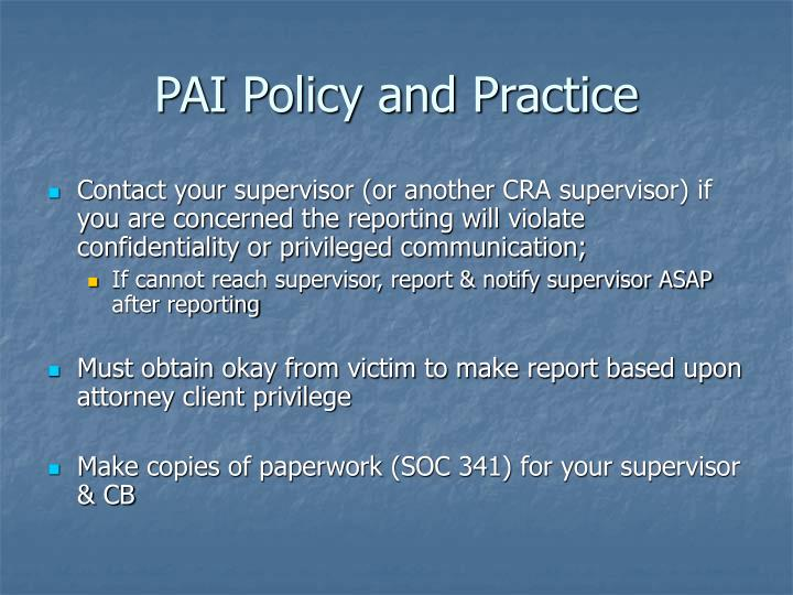 PAI Policy and Practice