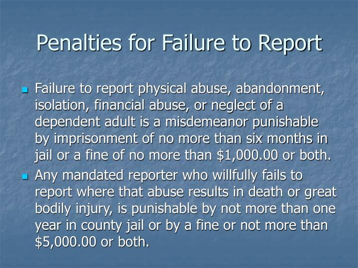 Penalties for Failure to Report