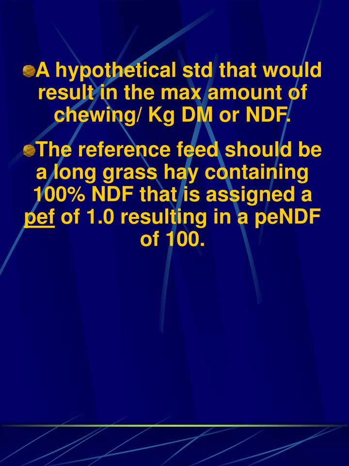 A hypothetical std that would result in the max amount of chewing/ Kg DM or NDF.