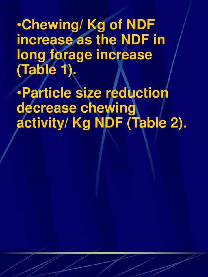Chewing/ Kg of NDF increase as the NDF in long forage increase (Table 1).