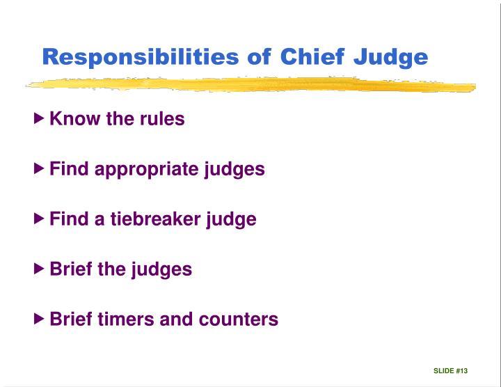 Responsibilities of Chief Judge